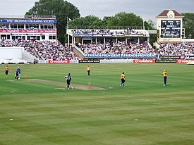 A view of the playing area of Edgbaston Cricket Ground in Birmingham, England
