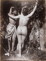 Two Sicilian adolescents, posing naked outdoors Wellcome L0034529.jpg