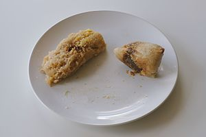 Zongzi - Unwrapped zongzi with pork and mung beans (left), pork and peanuts (right)