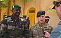 U.S. Army Brig. Gen. James B. Linder, center, the commander of Special Operations Command Africa, and Nigerien Army Col. Mounkaila Sofiani, left, the commander of the Regional 5th Zone, speak to David Lewis 140307-N-ZZ999-012.jpg