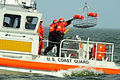 U.S. Coast Guardsmen aboard a response boat catch a rescue basket lowered by a MH-65C Dolphin helicopter crew as part of a training evolution on Lake Pontchartrain, La., Jan 120117-G-BD687-009.jpg
