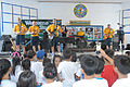 U.S. Sailors with the U.S. 7th Fleet Band ensemble Orient Express play for students at Santa Rita Elementary School in Subic Bay, Philippines, June 27, 2014, during a community service event in support 140627-N-PK322-044.jpg