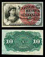 Ten-cent fourth-issue fractional note