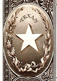 Ulusal Banknot Serisi 1882BB'nin tersinden Teksas eyalet arması
