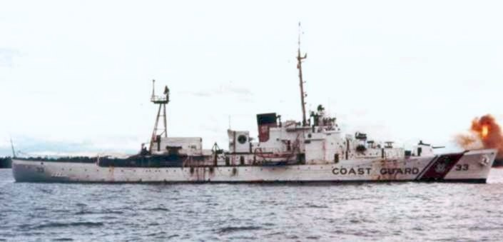 USCGC Duane (WHEC-33) shelling targets in Vietnam c1967