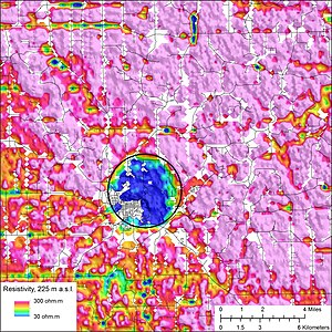 Geology of Iowa - U.S. Geological Survey aerial resistivity map of the Decorah, Iowa area, showing the Decorah crater.
