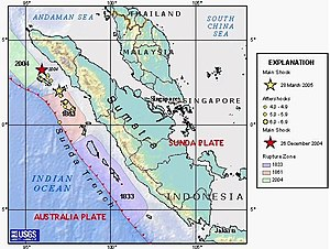 2010 Mentawai earthquake and tsunami - Map showing previous rupture areas close to the location of the October 2010 earthquake