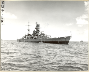 "USS Prinz Eugen (IX 300) at sea during Operation ""Crossroads"". ¾ view STBD forward. - NARA - 80-G-627445.tif"
