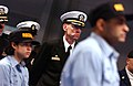US Navy 030327-N-0696M-044 USS Ronald Reagan (CVN 76), Commanding Officer, Capt. Jim Symonds, attends a hat ceremony marking the end of the Battle Stations portion of recruit training.jpg
