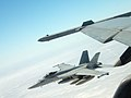 US Navy 050614-N-0000I-005 An F-A-18E Super Hornet flies off the wing of a F-A-18F Super Hornet.jpg