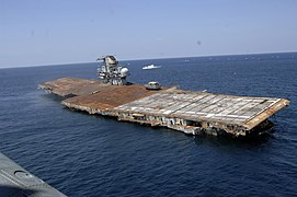 US Navy 060517-N-7992K-009 The ex-Oriskany, a decommissioned aircraft carrier, was sunk 24 miles off the coast of Pensacola, Fla., on May 17 to form an artificial reef.jpg
