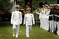 US Navy 070518-N-0696M-053 Escorted by Lt. Brandon Worl, Adm. Eiji Yoshikawa, Chief of Staff, Japan Maritime Self-Defense Force, reviews the Naval District Washington Ceremonial Guard during a full honors ceremony at Leutze Par.jpg