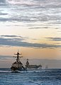 US Navy 080126-N-7981E-517 hips assigned to USS Abraham Lincoln Strike Group, led by the guided missile destroyer USS Momsen (DDG 92) during a straight transit exercise.jpg