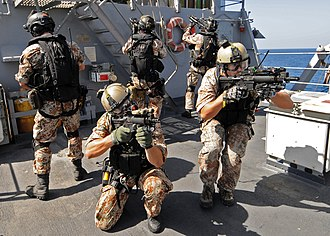 Frogman Corps (Denmark) - Image: US Navy 090219 N 1082Z 064 The visit, board, search and seizure team from the Danish flexible support ship HDMS Absalon (L 16) trains trains aboard USS Vella Gulf (CG 72)