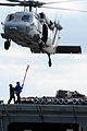 US Navy 100909-N-7605J-060 An MH-60S Sea Hawk helicopter hovers as Sailors connect a cargo pendant.jpg