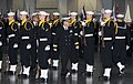 US Navy 101112-N-8848T-510 Rear Adm. David Steindl, commander of Naval Service Training Command (NSTC), inspects a drill team during a graduation c.jpg