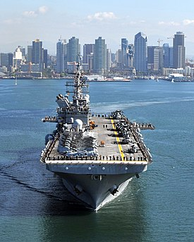 US Navy 111114-N-KD852-188 The amphibious assault ship USS Makin Island (LHD 8) departs Naval Base San Diego on its first operational deployment to.jpg