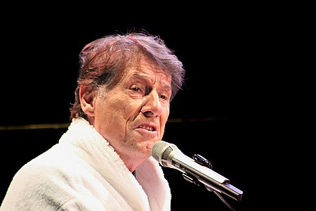 The Austrian singer and composer of popular music, Udo Jürgens (born 1934), live on his tour «Der Soloabend 2010» in his typical white «bathrobe-final».