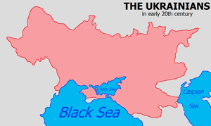 Greater Ukraine - Map of Ukrainian settlement in Eastern Europe based on a postcard issued in 1919.