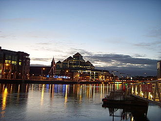 Economy of Dublin - One George's Quay Plaza at night (middle)