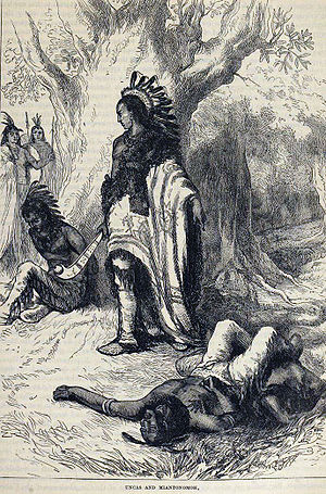 Mohegan Indians v. Connecticut - Uncas, portrayed as triumphant over a Narragansett enemy