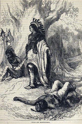 Mohegan Indians v. Connecticut - Uncas, portrayed as triumphant over a Narragansett enemy