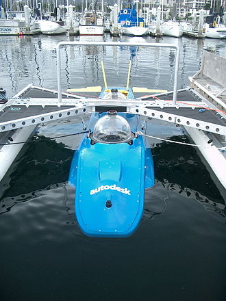 "Submersible - Experimental sub dive in Monterey Bay of the DeepFlight Aviator. In a radical redesign of the submarine, it ""flies"" underwater like an airplane rather than using ballast like a blimp. The designer, Graham Hawkes, thinks that a variation of this design could reach the bottom of the deepest trench in the ocean."