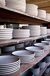 Unglazed plates (bowls below) with no lip at a pottery & Plate (dishware) - Wikipedia