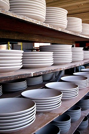 Plate (dishware) - Unglazed plates (bowls below) with no lip at a pottery