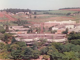 University of Campinas - The campus around 1990, looking southeast from the central plaza