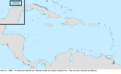 Map of the change to the United States in the Caribbean Sea on June 21, 1884
