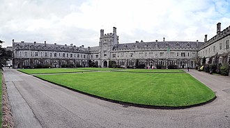 "University College Cork - The ""Long Hall"" and the clock tower of the UCC quadrangle"