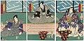 Utagawa Kunisada II - Actors Ichikawa Kodanji IV as Minamoto Tennichibô, Actually Shimizu Yoshitaka, Bandô Kamezô I as Ôe Inabanosuke Hiromoto, and Kawarazaki Gonjûrô I as Takegawa Iganosuke.jpg