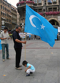 This flag is used by Uyghurs as a symbol of the East Turkestan independence movement. The Government of the Peoples Republic of China prohibits using the flag in the country.