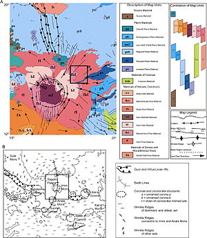 Irnini Mons - Detailed geologic map by the United States Geological Survey of the V-20 quadrangle on Venus.  Irnini Mons and Sappo Patera are located in the center of this quadrangle.