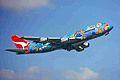 VH-EBU 1 B747-338 Qantas (Nalangi Dreaming c-s) SYD 06JAN99 (6582247581).jpg