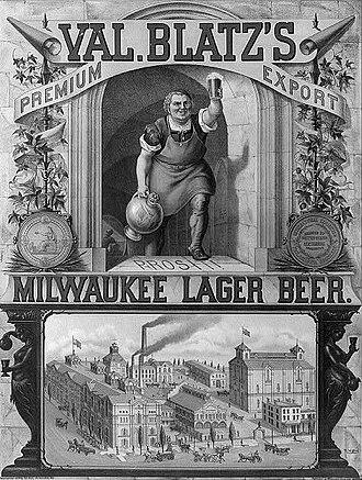 Valentin Blatz Brewing Company - 1879 advertisement for Val. Blatz's Milwaukee lager beer