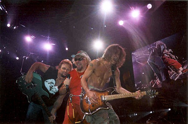 Van Halen during their 2004 reunion period. L-R: Michael Anthony, Sammy Hagar, Eddie Van Halen VanHalenwithHagar.jpg