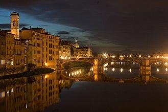 Ponte Santa Trinita - Image: Vechio Ponte Santa Trinita with the Oltrarno district
