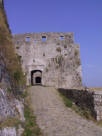 Siege of Shkodra - Venetian gate (outer), barbican, and original Illyrian gate (inner) at the northern face of the fortress