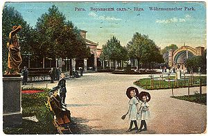 Vērmanes Garden - Picture postcard dated 1911 showing view of daily life in the garden