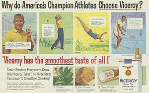 Viceroy (cigarette) - 1957 Viceroy ad.