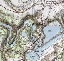 USGS topographical map with the village