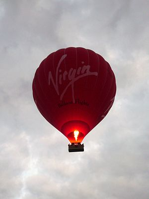 Virgin Balloon Flights - A Virgin hot air balloon flying over Cambridge.