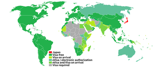 Visa requirements for Japanese citizens - Image: Visa requirements for Japanese citizens
