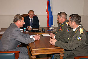 Georgy Shpak - Vladimir Putin with Sergey Ivanov, Georgy Shpak and Alexander Kolmakov in September 2003.