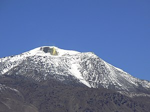 Putana (volcano) - Putana volcano, with the summit fumaroles, sulfur deposits and the summit road all visible