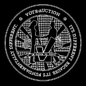 Ubermorgen - Vote-Auction Seal, 200 x 200 cm, digital print on canvas, 2000