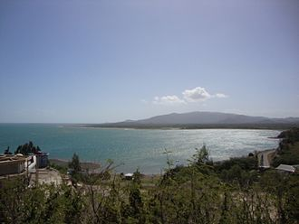 Koumac - View of the baie des Sables taken from Pandop with Tiebaghi massif in the background