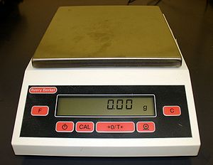 Baker percentage - Digital scale for weighing ingredients.